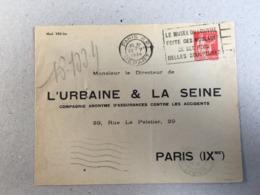 Entier  283 Type Paix  50c  Urbaine Seine 1934 TSC Type Paix 50c 283 - Poststempel (Briefe)