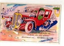 48 LES GORGES DU TARN, Carte A Systeme, Automobile Ecrasant Un Agent De Police, Illustrateur - Gorges Du Tarn