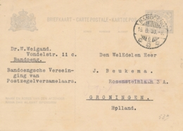 Nederlands Indië - 1933 - 5 Cent Cijfer, Briefkaart G48 Van LBnr BANDOENG/6 Naar Groningen / Nederland - Niederländisch-Indien