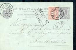 Suriname - Geuzendam 9 - Via Plymouth - Bijfrankering - 1897  Paramaribo - Amsterdam Stempel: Suriname Via Plymouth - Bi - Postwaardestukken