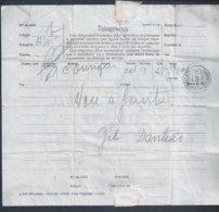 Telegrama De Lisboa/ Oeiras,1942. 'Mensagem 'Vou á Junta.' 2ª Guerra Mundial. Telegram Lisbon/Oeiras In. 2 World War. 2s - 1910-... République