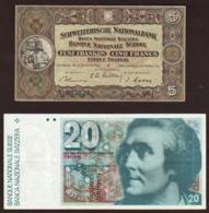 SUISSE: Lot De 2 Billets: 5F De1951 Et 20F De Saussure échangeable En Suisse. - Suisse
