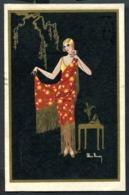 CV2992 DONNINE Elegante Figura Con Abito Da Sera, Ill. Max Ninon, FP, Viaggiata 1928 Per Milano, Ottime Condizioni - Fashion