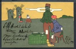 CV2989 PAESI BASSI Bella Cartolina Con Personaggi Olandesi, FP, Viaggiata 1904 Per Imola, Buone Condizioni - Paesi Bassi