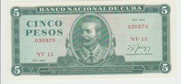 Cuba 5 Pesos 1990  Pick 103d UNC - Cuba