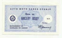 Bon For Mineral Water - Edit AMS ( Automobile Association) Serbia - Serbien