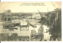 75 - PARIS - INONDATIONS 1910 / PRES DU PONT MIRABEAU LES CHANTIERS DU METRO INONDES - Inondations De 1910