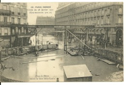 75 - PARIS - INONDATIONS 1910 / PLACE DU HAVRE DEVANT LA GARE SAINT LAZARE - Alluvioni Del 1910