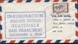 15395  GUATEMALA  PA 192  1er Vol Guatémala-San Francisco  Du  2.12.55  B/TB - Guatemala