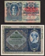 AUTRICHE: Bon Lot De 2 Billets: 20 Kr De 1913 Surchargé ........... - Austria