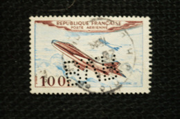 Perfin France Avion Mystere 100fr  Perforé Lochung BVR - Francia