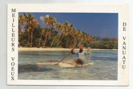 Cpm Voeux De Vanuatu Bateau Barque Peche Pecheur Carte Double Photo Metois 10,5x16 Cm Env - Vanuatu