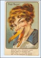 XX006761/ Neujahr Litho Humor AK  Frau Mit Gänseschnabel  Ca.1925  - Humor