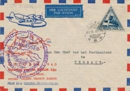 Nederlands Indië - 1940 - 30 Cent LP-zegel Op Openingsvlucht KNILM-lijn - Trajectpost Van Malang Naar Ternate - Nederlands-Indië