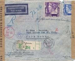 Nederlands Indië - 1941 - 1 Gld & 15 Cent Wilhelmina Op Censored Business Cover By KLM Van Batavia Naar Cape Town - Nederlands-Indië