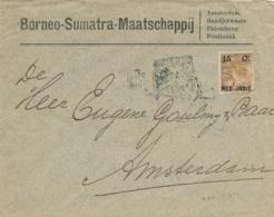 Nederlands Indië - 1902 - 15 Cent Opdruk Op Bontkraag, Enkelfrankering Op Businesscover Van VK Bandjermasin Naar A'dam - Nederlands-Indië