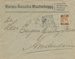 Nederlands Indië - 1902 - 15 Cent Opdruk Op Bontkraag, Enkelfrankering Op Businesscover Van VK Bandjermasin Naar A'dam - Indes Néerlandaises