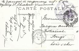 51-cachet Hôpital Temp. N°3 De Chalons/Marne Sur CP En 1914 -cachet Répété Au Verso. - Postmark Collection (Covers)