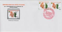 Côte D'Ivoire Ivory Coast 2019 FDC 1er Jour Mi. ? 150ème Anniversaire Mohandas Mahatma Gandhi Peace Dove Bird - Côte D'Ivoire (1960-...)