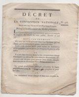 Décret Relatif à L'établissement Des Ecoles Primaires 1793 - Documents Historiques