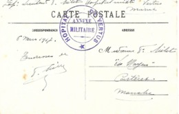51-cachet Hôpital De Vertus- Annexe Militaire Sur CP En 1917 - Marcophilie (Lettres)