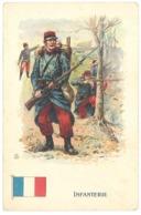 Cpa Infanterie, Soldat En Tenue, Infanterie, Drapeau, Pub Texte Au Verso Chocolaterie Matte Fils, Montpellier  ( MI ) - Uniformes
