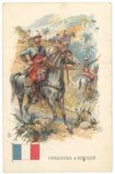 Cpa Infanterie, Soldat En Tenue, Drapeau, Chasseurs D'Afrique, Pub Au Verso Chocolaterie Matte Fils, Montpellier  ( MI ) - Uniformes