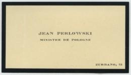 Carte De Visite De Jean Perlowski , Ministre De Pologne . - Visiting Cards