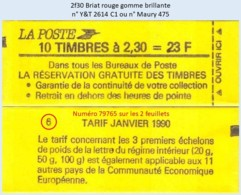 FRANCE - Carnet Conf. 6, Numéro 79765 - 2f30 Briat Rouge - YT 2614 C1 / Maury 475 - Usage Courant