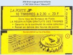 FRANCE - Carnet Conf. 9, Numéro 82132 - 2f30 Briat Rouge - YT 2614 C4 / Maury 477 - Usage Courant