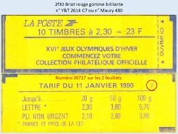 FRANCE - Carnet Conf. 9, Numéro 30717 - 2f30 Briat Rouge - YT 2614 C7 / Maury 480 - Usage Courant