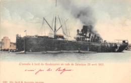 L'INCENDIE A BORD DU GUADALQUIVIR EN RADE DE SALONIQUE , 28 AVRIL 1903 - Paquebote