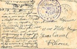 51-cachet Hôpital Temp N°20 De Chalons/Marne Sur CP De Rabat(Maroc)en 1915 - Marcophilie (Lettres)