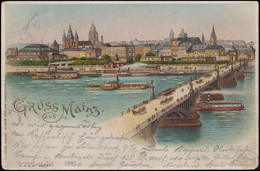 Ansichtskarte Gruss Aus Mainz: Panorama Mit Schiffenn Und Rhein, Gelaufen 4.7.99 - Ohne Zuordnung