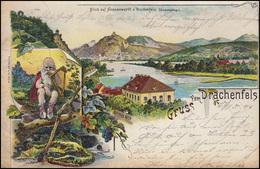 Ansichtskarte Gruss Vom Drachenfels Blick Auf Nonnenwerth, Gelaufen 23.1.01 - Ohne Zuordnung