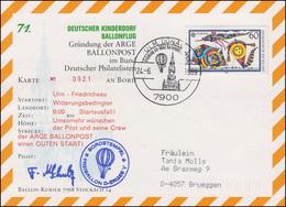 71. Kinderdorf-Ballonpost D-ENERGEE V Ulm - Friedrichsau ARGE Ballonpost 24.6.89 - Mongolfiere