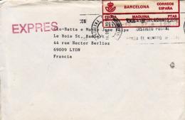 ESPAGNE 1990     EMA Expres Sur Enveloppe Barcelona à Lyon 69009 - Marcofilia - EMA ( Maquina De Huellas A Franquear)