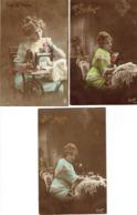 Lot De 3 CPA Vive Ste Anne Avec Jeune Fille Et Machine à Coudre (naaimachine) (ont Voyagé En 1914) - Wensen En Feesten