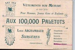 Vetements Sur Mesure  Aux 100,000 PALETOTS  Louis ARCHAMBAUD  SURGERES - Pubblicitari