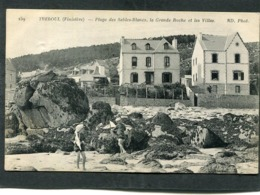CPA - TREBOUL - Plage Des Sables Blancs, La Grande Roche Et Les Villas, Animé - Tréboul