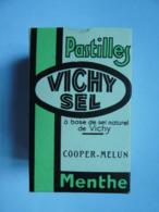 CHy Boite Carton Pastilles VICHY Menthe Base Sel Naturel COOPER MELUN étiquette Contrôlé Union Des Pharmaciens Français - Boîtes