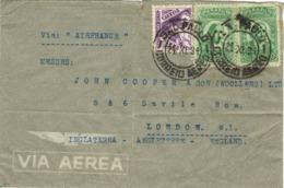 34444. Carta Aerea SAO PAULO (Brasil) 1934. Via Air France A England - Bolivia