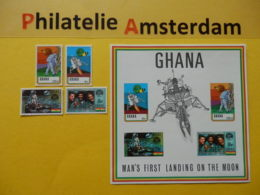 Ghana 1970, APOLLO 11 / SPACE RAUMFAHRT ESPACE: Mi 397-00, + Bl. 39, ** - Afrika