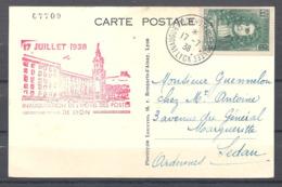 Carte Maximum Inauguration De L'hôtel Des Postes De Lyon Le 17 Juillet 1938 - Cartoline Maximum