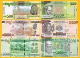 Guinea Set 500, 1000, 2000 Francs 2015-2018 UNC Banknotes - Guinee