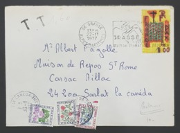 1977 Cover, Enveloppe De Grasse Pour Sarlat La Canéda, France, Republique Française - Lettres & Documents