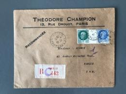 France N°518 Et 520 Sur Lettre Recommandée De Paris à Nangis - (B2379) - Marcophilie (Lettres)