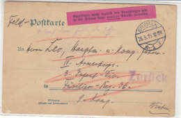 Feldpostbrief Aus BREMEN 26.5.15 An Füs.Reg.36 U. ZURÜCK / Empfänger Wolle Sogleich Den Angehörigen ... Pinker Aufkleber - Deutschland