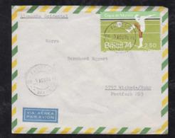 Brazil Brasil 1974 Cover FLORESTA To WICKEDE Germany Soccer Stamp - Brazilië