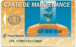 CARTE A PUCE CHIP CARD CARTE TELEPHONE SALON DEMONSTRATION GSM FRANCE TELECOM MAINTENANCE TGV - Francia
